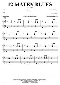 free sheetmusic for piano, keyboard, hammond - 12-bar blues straight beat