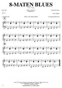 free sheetmusic for piano, keyboard, hammond - 8-bar blues straight beat