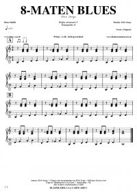 free sheetmusic for piano, keyboard, hammond - 8-bar blues shuffle