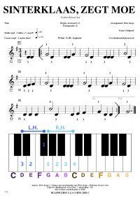 Gratis bladmuziek voor piano keyboard - Sinterklaas, zegt moe