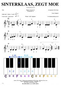 free sheetmusic for piano, keyboard, hammond - Sinterklaas, zegt moe